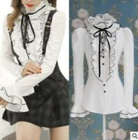 White Tops High Neck Frilly Ruffle Women Victorian Long Sleeves Shirt Blouse Toy