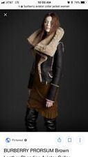 BURBERRY PRORSUM Brown Leather Shearling Fur Aviator Collar Jacket 40
