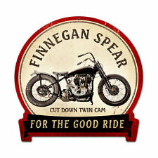 Classic Motorcycle Finnegan Spear V Twin Vintage Sign Blechschild Schild Groß