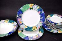 "2 Christopher Stuart Optima FRENCH BROCADE Floral HK219 10 3/4"" Dinner Plates"