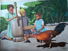 "ORIGINAL PAINTING BY HAITIAN EMERGING ARTIST L. LOVENS HAITI Children 30""x40"""