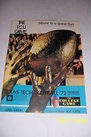 1972 TEXAS Football TEXAS TECH Red Raiders vs TCU Texas Christian University