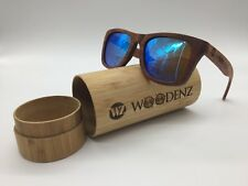 Woodenz Handcrafted Bubinga Wooden Frame Blue Mirror TAC Polarized Sunglasses