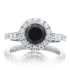 1.75 Carat TW Black Diamond F-G VS2-SI2 Engagement Halo 14K White Gold Ring
