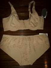 NWT LE MYSTERE CAMILLE FULL FIT BRA PANTIES SET NATURAL 2217 38E HIPSTER 2417 L