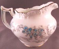 Coalport Heirloom Bone China Creamer - Blue & Grey Flowers - Vintage England