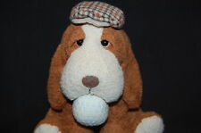 "RUSS CADDIE GOLF BALL PUPPY DOG CAP BROWN 6"" WHITE CUTE PLUSH STUFFED ANIMAL TOY"