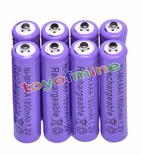 8x AAA 1800mAh 3A 1.2 V Ni-MH Purple Rechargeable Battery Cell for MP3 RC Toys