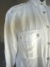 Leinenbluse Weiß mit Schulterklappen H&M Vintage Gr S/M  36 38