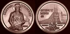 Copper Country, 2006, 1 oz Ounce copper bullion round. Quincy Mine, Keweenaw