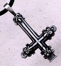 ST. PETER PETRINE INVERTED UPSIDE DOWN LATIN CROSS anti-Christian Pewter Pendant
