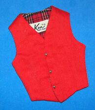 Vintage Ken Doll Fashion Pak Red Vest Plaid Lining 1962 Barbie Gold Ball Buttons