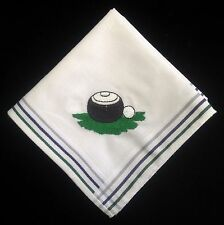 Mens Novelty Handkerchiefs - Embroiderered Bowls Ball 100% Cotton Quality Hanky