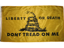 Liberty or Death 3'x5' Gold Don't Tread On Me Tea Party Premium Quality Flag 3X5