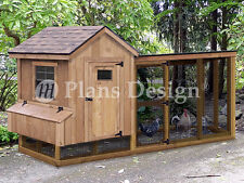Chicken Coop Plans with Kennel / Run, 4' x 10' Gable / Lean-to, Design # 50410GL