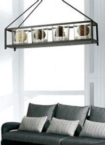 Hanging Storage Metal Lantern Ceiling Iron Holder Black Wine Candle Glass Pots