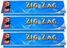 3 x KINGSIZE KING SIZE ZIG ZAG BLUE SLIM ROLLING PAPERS - 32 PAPERS PER PACK