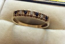 Lovely Ladies Full Hallmarked Vintage 9ct Gold Sapphire & White Stone Ring - P
