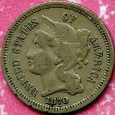1870 (VF) 3C THREE CENT NICKEL PIECE