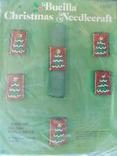 WtW New NIP Bucilla 2837 Christmas Trees Needlecraft Napkin Ring Set Jeweled Kit