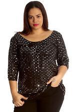 Womens Top Plus Size Ladies Polka Sequin Dot Foil Glitter Party Shirt Nouvelle