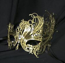 or cygne vénitien style métal filigrane Masque bal masqué Strass Cristal Noir
