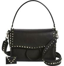 9d43e273ffd9e Valentino Garavani Medium Rockstud Black Leather Shoulder Bag Handbag Purse