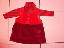 Ensemble Bébé Fille Taille 6 Mois Robe Rouge Velours + Sous Pull Marque : Kiabi