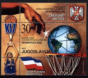 4418 YUGOSLAVIA 2002 World Basketball Championships Block **MNH