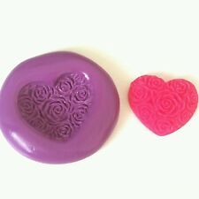 Small Rose Heart Silicone Mould 21mm - Sugarcraft Polymer Clay PMC Cake Decorate