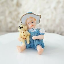 Vintage Style Blue Boy with Teddy Bear Figurine Statue Classic Americana Baby