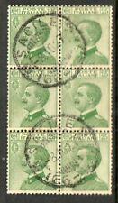 Regno 1927 VEIII 25c. verde blocco di sei usato N1919