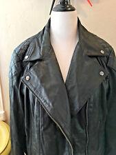 Women's Asos Curve Black Genuine Leather Motorcycle Jacket Plus Size 18 US/22 UK