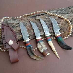 """6""""MH KNIVES RAM & STAG HORN DAMASCUS STEEL LOT OF 4 HUNTING/SKINNER KNIFE LOT-74"""