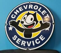 VINTAGE FELIX CAT CHEVROLET PORCELAIN BOW-TIE GAS TRUCKS SERVICE SALES AUTO SIGN