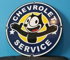 VINTAGE FELIX CAT CHEVROLET PORCELAIN BOW-TIE GAS TRUCKS SERVICE SALES AUTO SIGN
