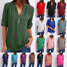 Womens V Neck Chiffon Rolled Up Shirt Ladies Long Sleeve Blouse Zip Top UK 6-24