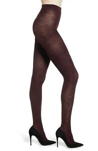 FALKE Kyoto Embossed Floral Opaque TIGHTS Size Medium Barolo Burgundy $40 - NWT