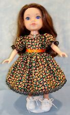 14 Inch Doll Clothes - Tiny Orange Floral on Black Fall Dress made by Jane Ellen