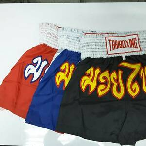 Fighting Muay Thai Kick Boxing Thai Pant Trunk Short Satin fabric, Size XL