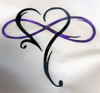 "Infinity Heart Metal Art-Always & Forever Infinity  10 3/4"" x 12 1/4"" Prpl & Bk"