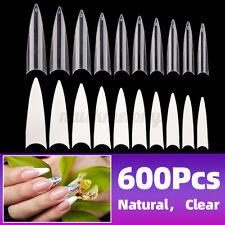 600Pcs False Nail Tips Clear Acrylic Gel Extra Long Half Cover Nail Accessories
