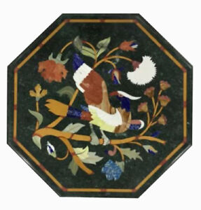 """12"""" green Marble Coffee side Center Table Top Inlay Pietra Dura Handmade Work"""