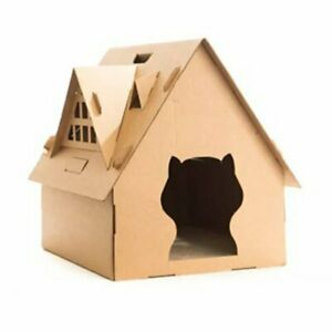 US Weatherproof Carboard Cat House Furniture Shelter Condo with Eave Outdoor