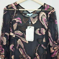 [ BLUE ILLUSION ] Womens Silk Print Top NEW | Size S or AU 10
