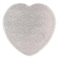 "Silver Heart Shaped 3mm Hardboard Cake Board Drum 8"" 10"" 12"" Baking Display"