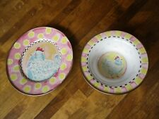 Mackenzie-Childs Yellow & Pink Enameled Bowl & Plate with Chicken Design