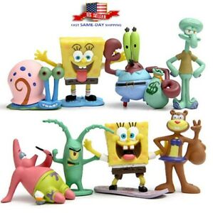 8 Pcs Set SpongeBob Squarepants Patrick Star Squidward Tentacles PVC Figure Toy