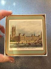 Vintage Set 6 Pimpernel Cork Coasters 19th Century London England Souvenir