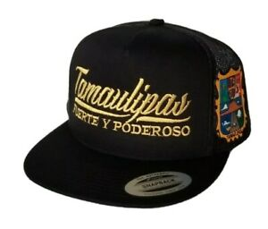 TAMAULIPAS MEXICO   HAT MESH TRUCKER BLACK  SNAP BACK ADJUSTABL  NEW 2LOGOS